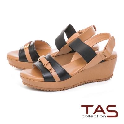 TAS 牛皮扣帶一字楔型涼鞋–人氣黑