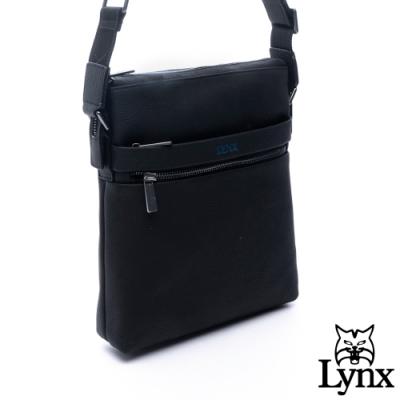 Lynx - 美國山貓商務紳士牛皮多拉鍊袋側背斜背長方包