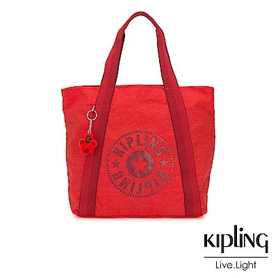 Kipling 珊瑚紅素面復古休閒LOGO托特包-HYE