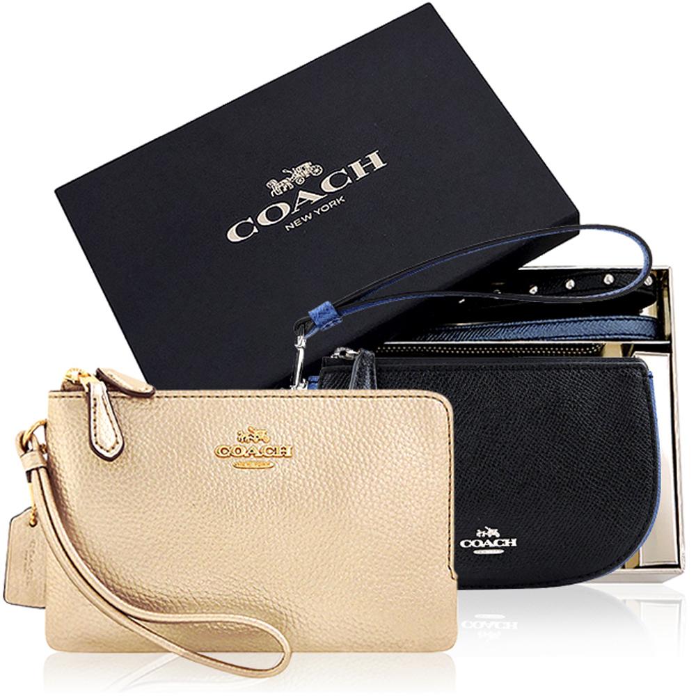 COACH 黑色鉚釘彎月手拿包禮盒組-附雙提帶+COACH 金色皮革雙層手拿包 @ Yahoo 購物