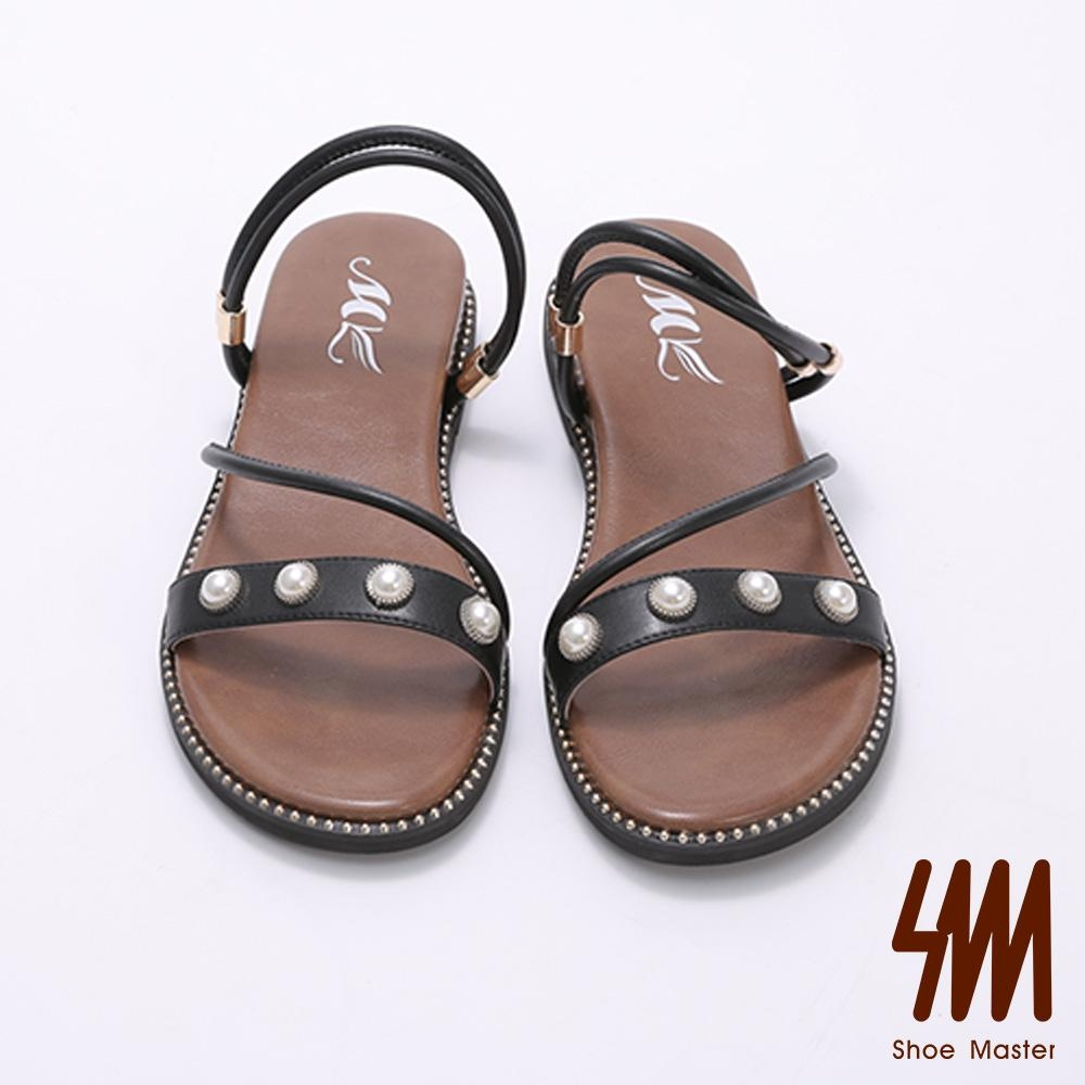 MK-一字珍珠飾品交叉平底拖鞋