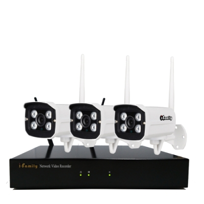 I-Family免施工免設定3百萬畫素八路式無線監視錄影套裝組NVR+三鏡頭