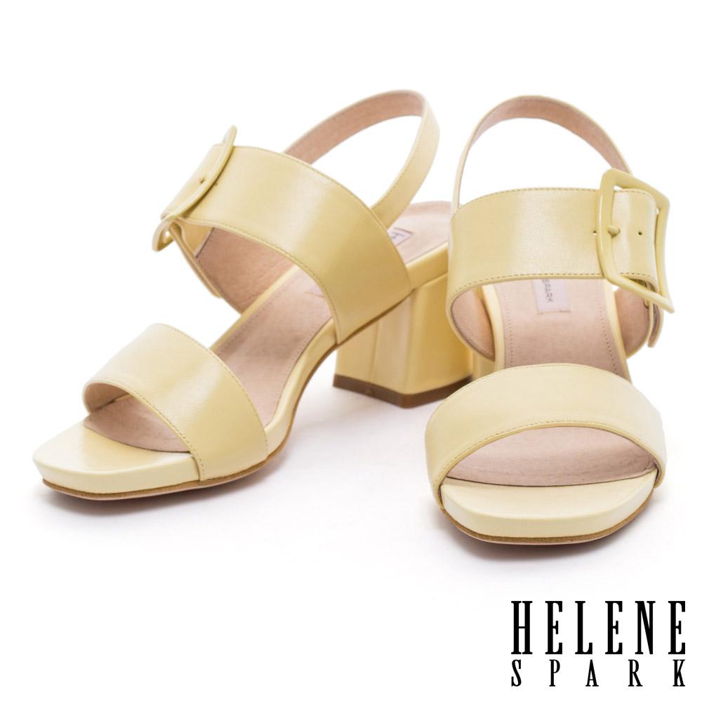 涼鞋 HELENE SPARK 簡約主義經典不敗寬繫帶羊皮粗高跟涼鞋-黃