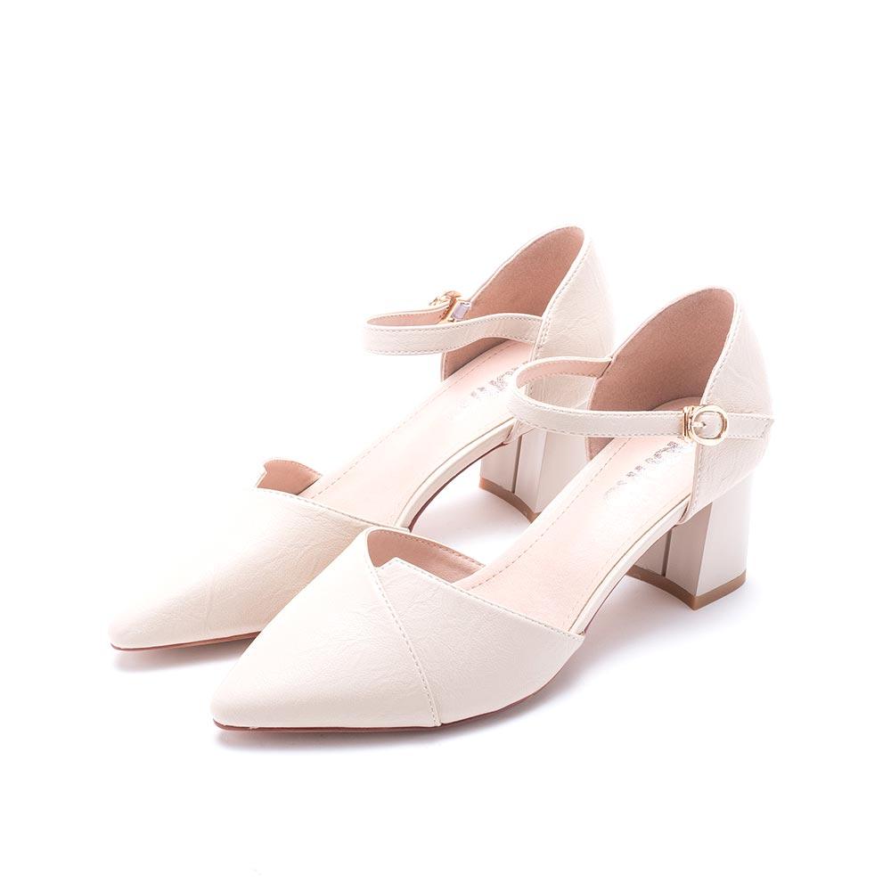 nonno 諾諾 時尚優雅素色粗跟鞋 米