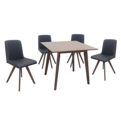Boden-薇奇3尺方型餐桌椅組合(一桌四椅)-90x90x75cm