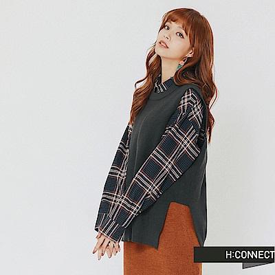 H:CONNECT 韓國品牌 女裝-側開岔圓領針織背心-綠