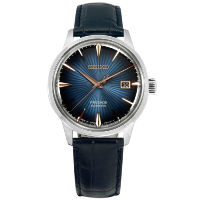 SEIKO 精工 限量款 PRESAGE 機械錶 自動上鍊 壓紋牛皮手錶-藍色/40mm