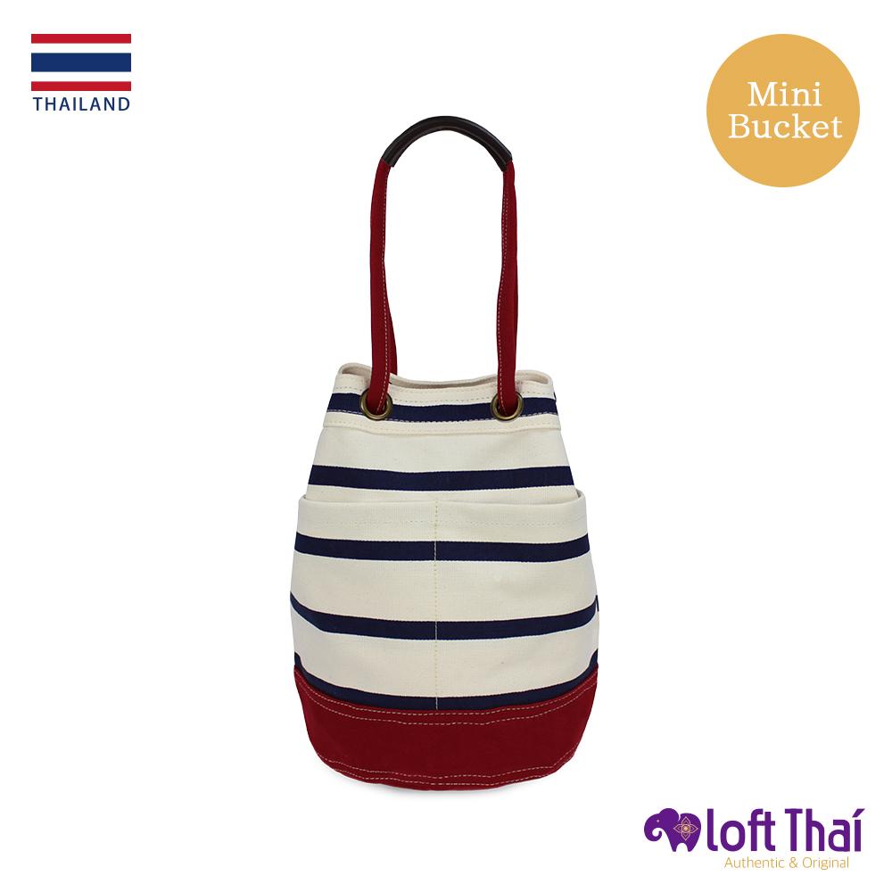 Loft THAI | 泰.兩用帆布水桶包(小) | Stripe/red
