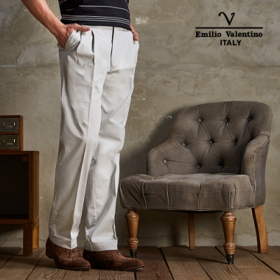Emilio Valentino范倫鐵諾雙褶休閒長褲淺卡其30-5A7525
