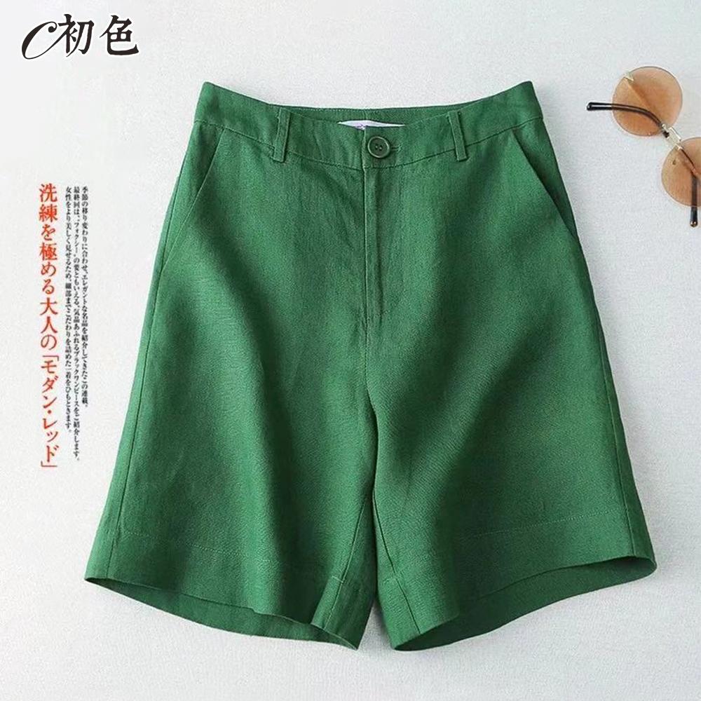 初色 舒適休閒後鬆緊短褲-共6色-(M-2XL可選)