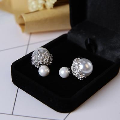 梨花HaNA 韓國925銀耳環華麗花鑽雙面珍珠耳環