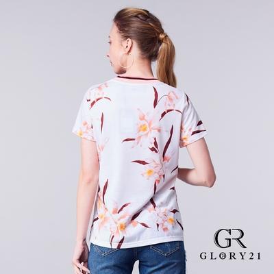 【GLORY21】彩色羅紋領口花形印花T-粉色