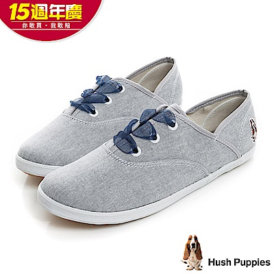 Hush Puppies 緞帶蝴蝶結咖啡紗帆布鞋-淺藍色