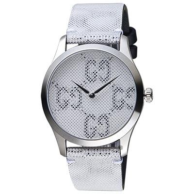 GUCCI古馳 G-TIMELESS 前衛漂浮LOGO手錶-銀/38mm