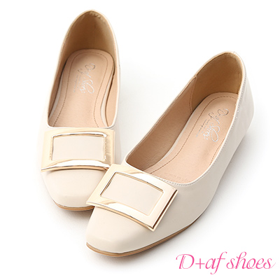 D+AF 典雅美型.大方釦微方頭娃娃鞋*米