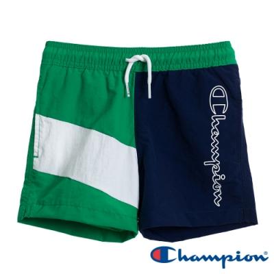 Champion EU童草寫Logo拼接短褲 深藍X綠