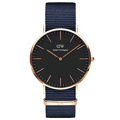 DW手錶 官方旗艦店 40mm玫瑰金框 Classic 星空藍尼龍帆布手錶
