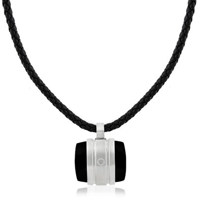 MONT BLANC 萬寶龍 白朗峰禮讚典藏系列黑色瑪瑙墜飾項鍊
