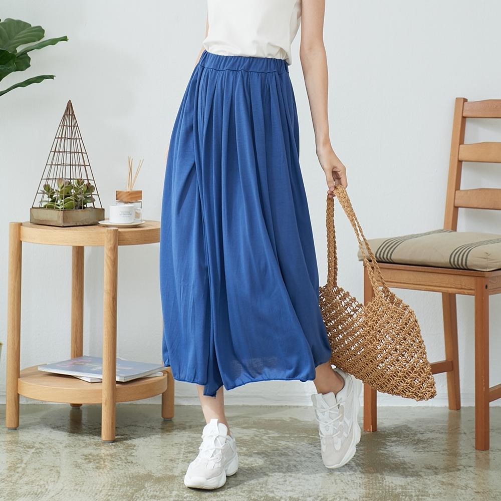 慢 生活 純色休閒長裙- 藍