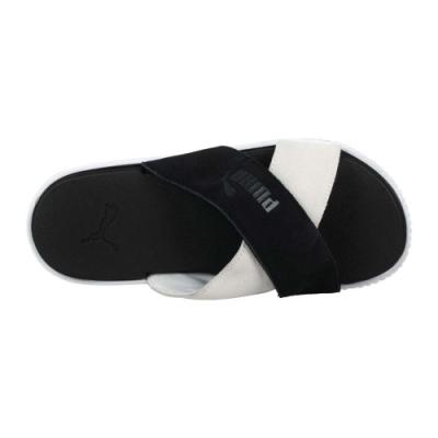 PUMA PLATFPRM SLIDE SUEDE 女休閒拖鞋-海邊 海灘 游泳 沙灘 37510503 黑白
