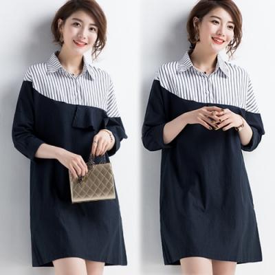 【韓國K.W.】好感風格簡約拼接氣質洋裝-1色