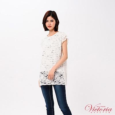 Victoria 假二件蕾絲長版寬鬆短袖T-女-白色