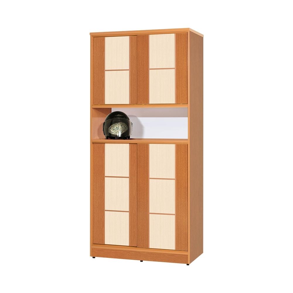 Birdie南亞塑鋼-3尺方塊直飾條四推/拉門中開放防水塑鋼高鞋櫃(木紋色+白橡色)-90x41x195cm