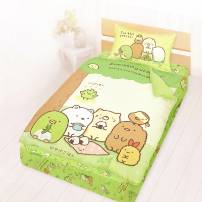 享夢城堡 單人床包涼被三件組-角落小夥伴 樹下野餐日-綠