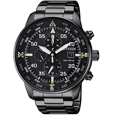 星辰 CITIZEN 飛行風格光動能計時腕錶(CA0695-84E)-黑