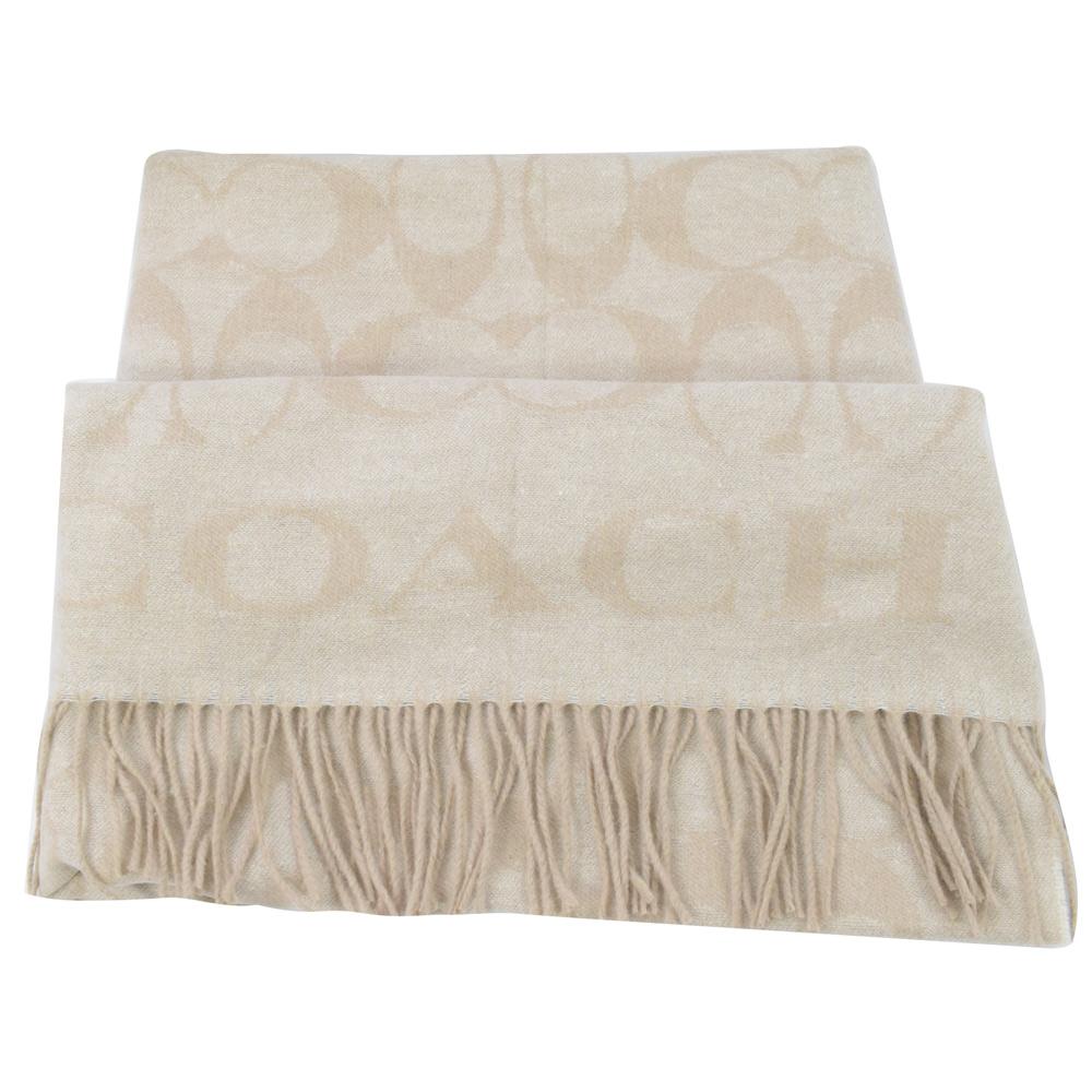 COACH大COACH LOGO字樣羊毛圍巾(米白)COACH