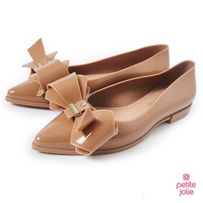 Petite Jolie--立體蝴蝶結尖頭娃娃鞋-牛奶糖