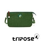 tripose漫遊系列岩紋x微皺尼龍斜背皮夾包 草綠