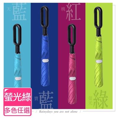 Life+ 靓彩活力時尚 100%黑膠降溫快扣兩折自動傘 (螢光綠)