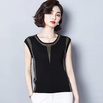 ALLK 冰絲針織上衣 黑色(尺寸M-XXL)