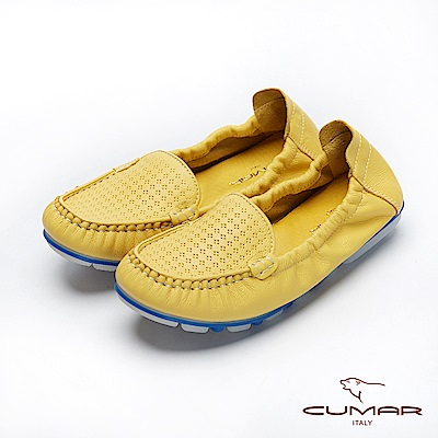 CUMAR悠遊輕井澤-簡約沖孔透氣莫卡辛平底休閒鞋-黃