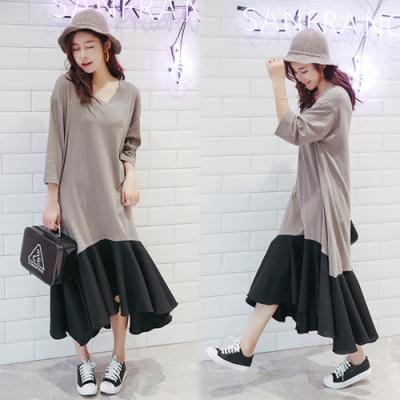 【韓國K.W.】(預購)好感風格簡約素雅寬鬆長洋裝-1色