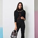ICHE 衣哲 精緻3D鑲飾蕾絲雕花七分袖造型外套-黑