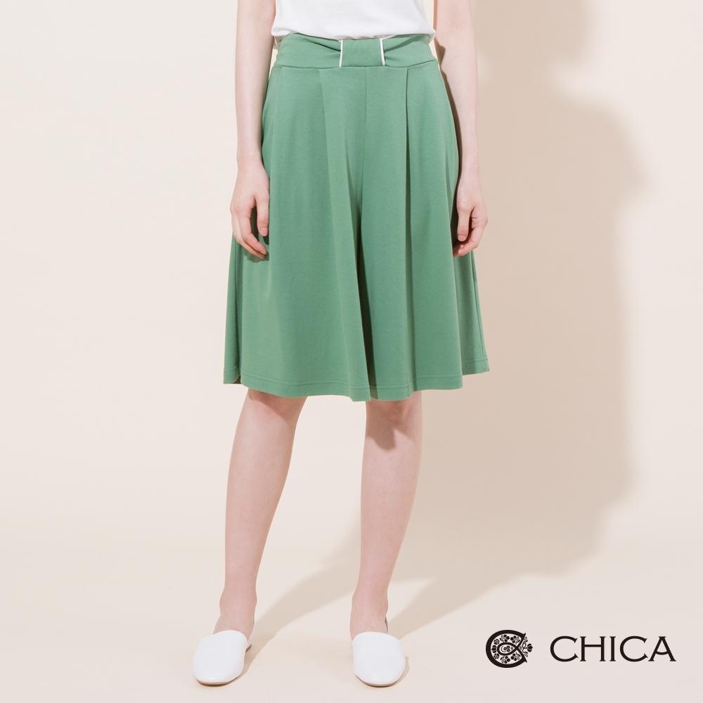 CHICA 法式甜美腰飾設計五分褲裙(2色)