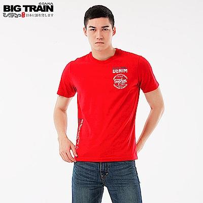 Big Train 加大丹寧潮流文字圓領短袖T-男-紅色