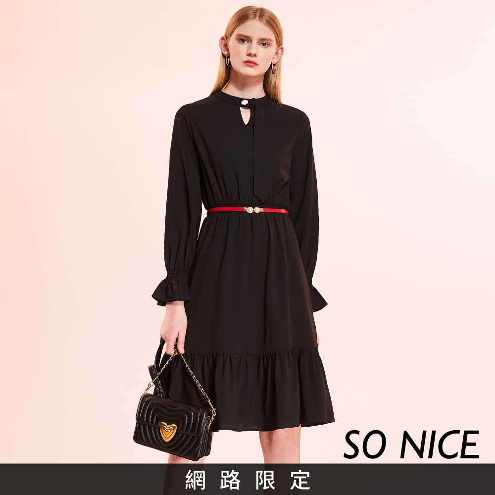SO NICE優雅鏤空荷葉雪紡洋裝