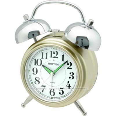 RHYTHM日本麗聲 典雅懷舊風格螢光指針貪睡夜光功能打鈴鬧鐘/20cm