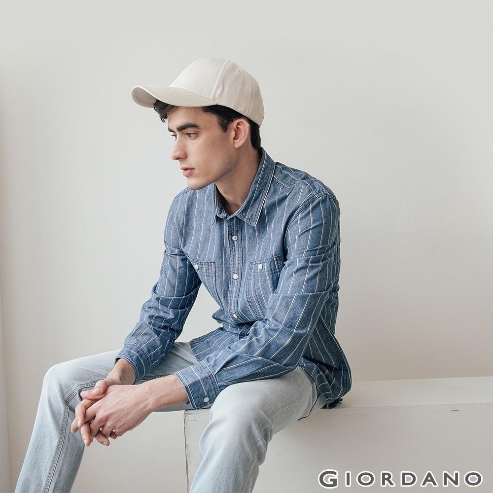 GIORDANO 男裝純棉雙口袋經典牛仔襯衫-03 海軍條紋藍