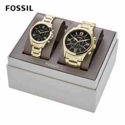 FOSSIL Modern Courier 經典雅仕羅馬數字三眼手錶 金色不鏽鋼鍊帶 36MM BQ2400SET