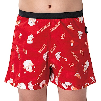 SOLIS 歡樂雪人系列120-150寬鬆印花四角男童褲(卡宴紅)