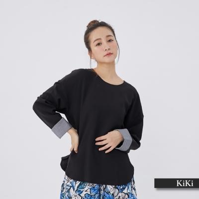 【KiKi】時尚設計款長袖-襯衫(黑色)