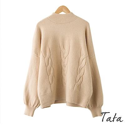 半高領麻花織紋針織上衣 共三色 TATA
