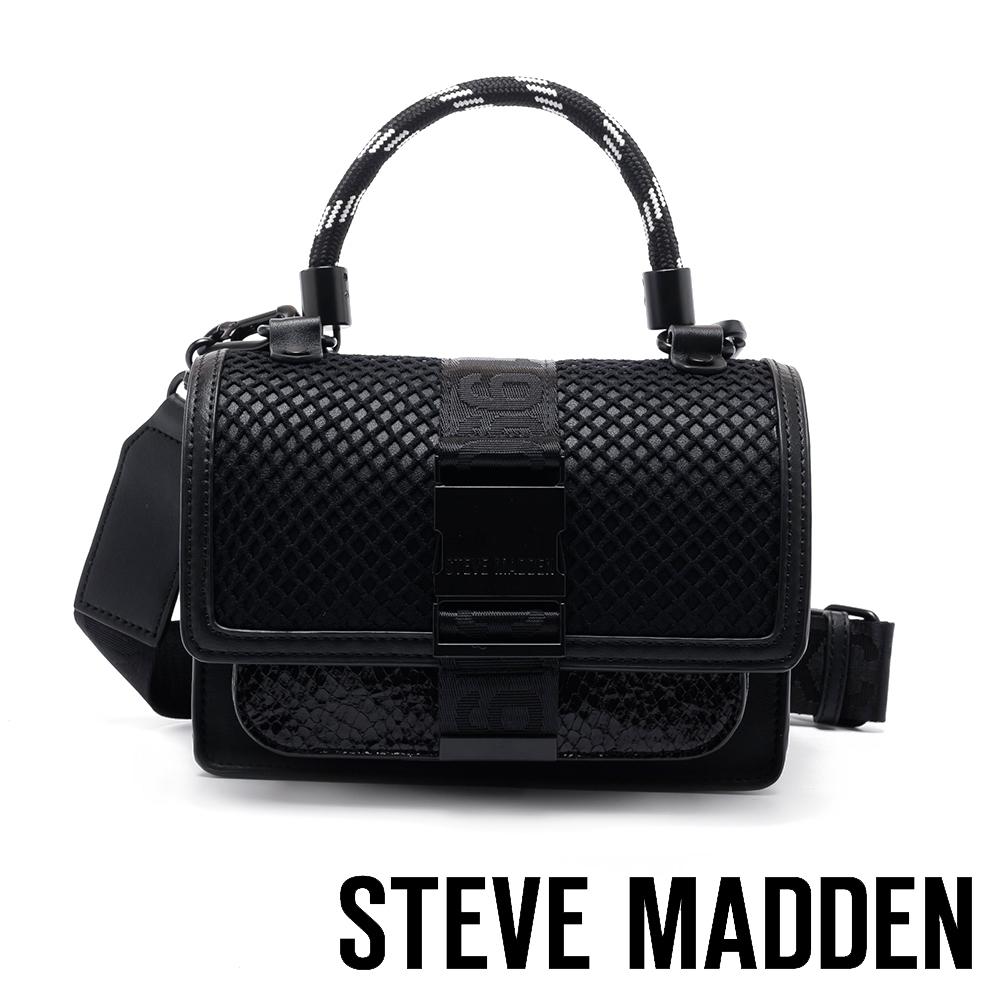 STEVE MADDEN-個性極簡風格翻蓋單肩背/手提包-黑色