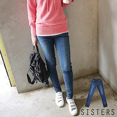 美腿刷色彈力鬆緊腰窄管褲牛仔褲(S-3L) SISTERS