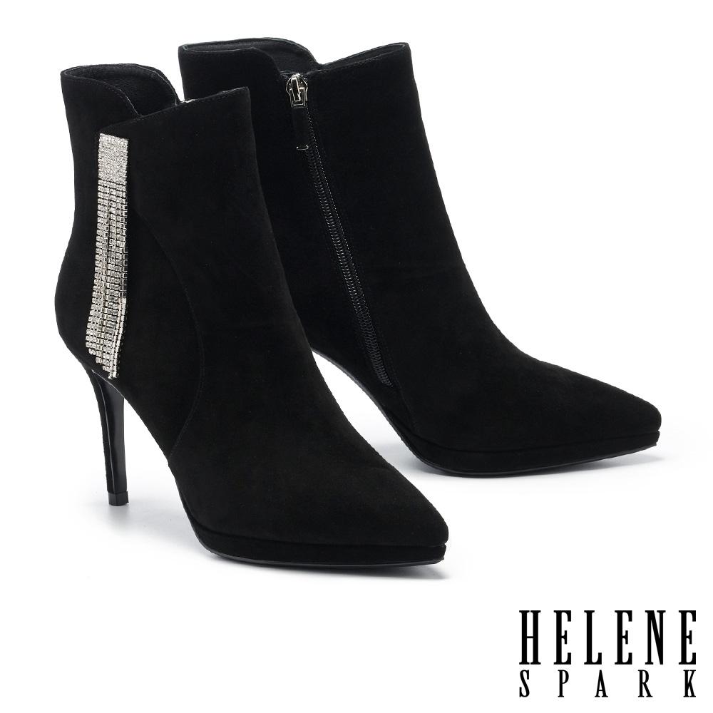 短靴 HELENE SPARK 奢華時髦流蘇晶鑽鍊條尖頭美型高跟短靴-黑