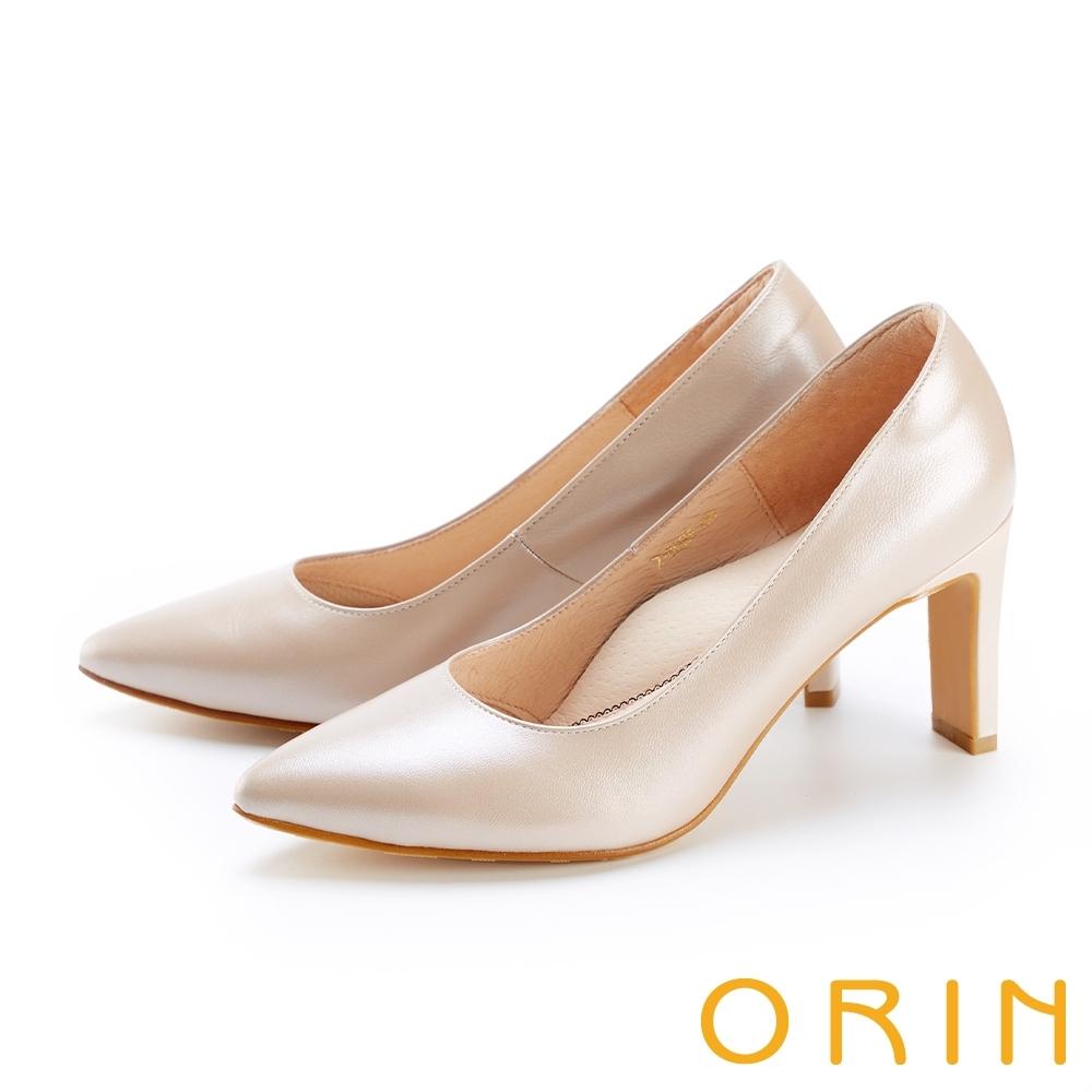 ORIN 羊皮素面典雅尖頭 女 高跟鞋 杏色